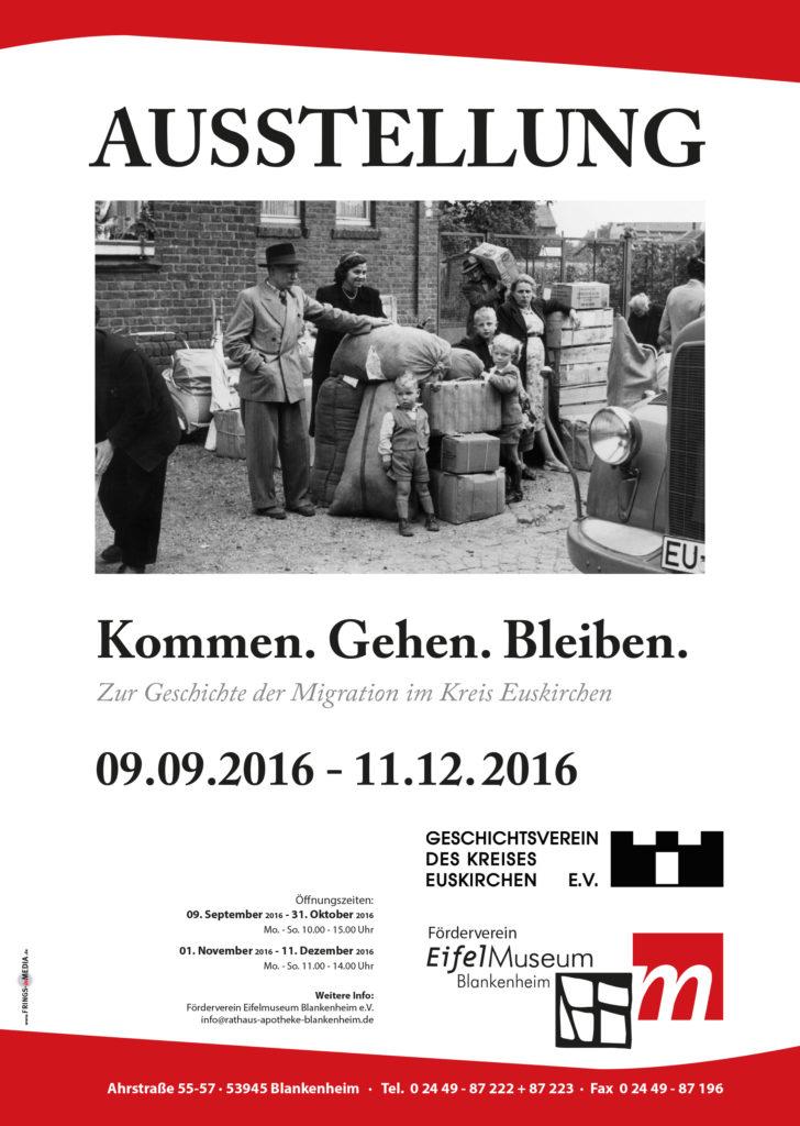 Plakat der Ausstellung über Migration im Kreis Euskirchen